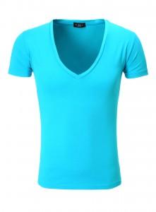 t-shirt col v tazzio turquoise